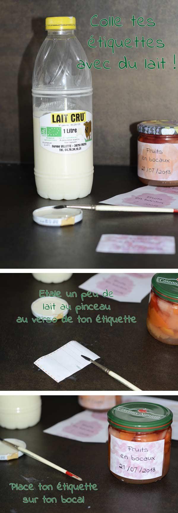 Coller tes étiquettes avec du lait