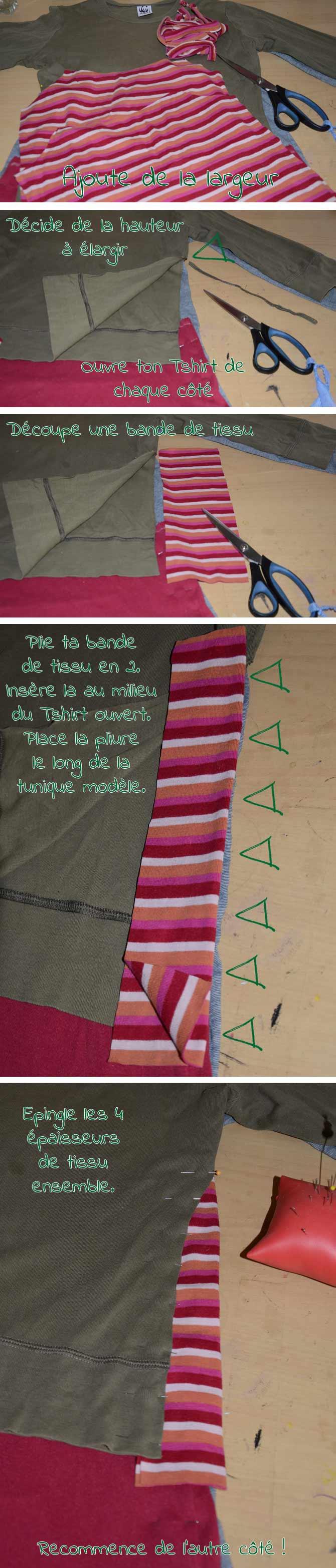 DIY: Transformer un Tshirt en tunique - ajouter de la largeur