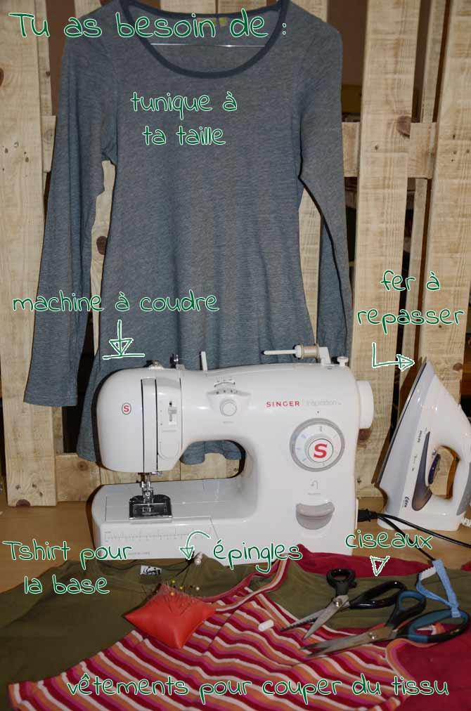 DIY: Transformer un Tshirt en tunique - matériel nécessaire