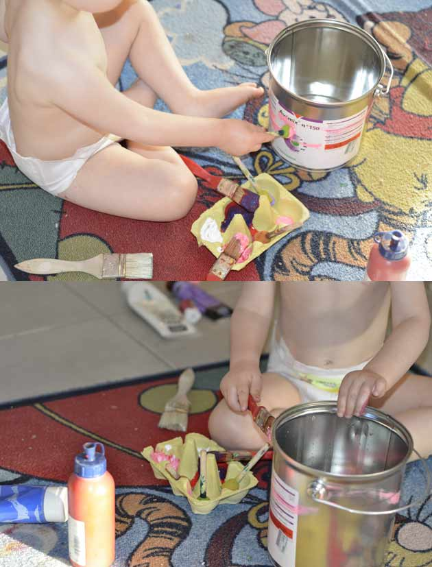 Décorer un pot pour plante avec un petit enfant