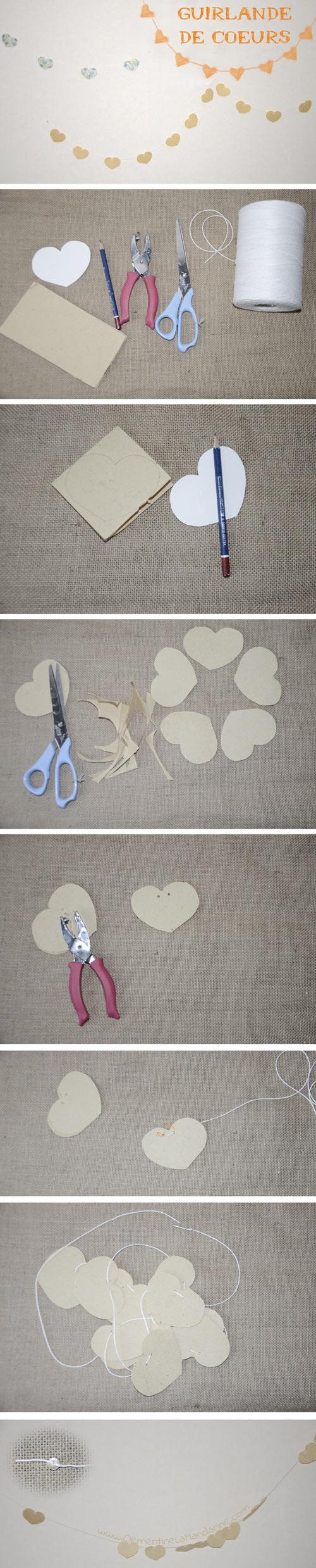 tutoriel guirlande de coeurs en papier