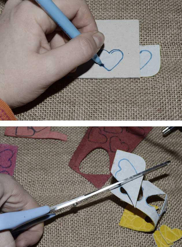 Décoration d'intérieur branches et coeur en cuir