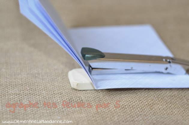 Création d'un carnet en papier récup', relié à la main