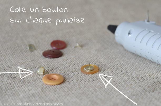 DIY fabrique de jolies punaises avec des boutons récup'