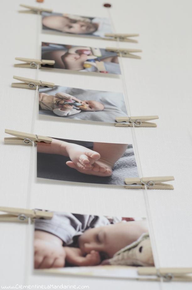 Afficher des photos au mur avec des pinces à linge