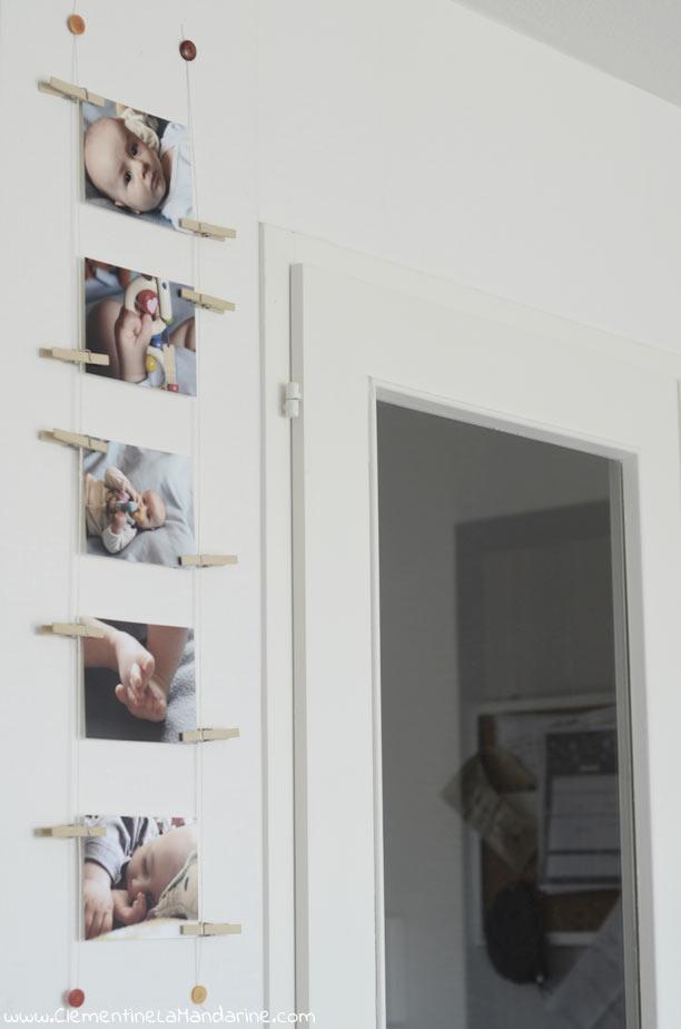 DIY fabrique de jolies punaises avec des boutons récup' et affiche tes photos avec des pinces à linge