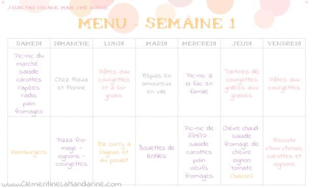 Challenge vers une alimentation plus équilibrée et plus végétale : menu de la semaine 1