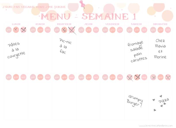 Planificateur de repas gratuit imprimer cl mentine la for Planificateur de cuisine gratuit