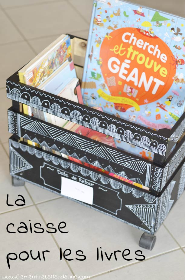 diy caisse livres de la biblioth que cl mentine la mandarine. Black Bedroom Furniture Sets. Home Design Ideas