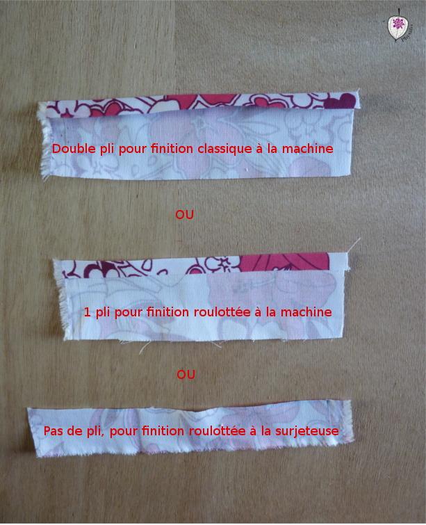 5préparation pour les différentes finitions de serviettes