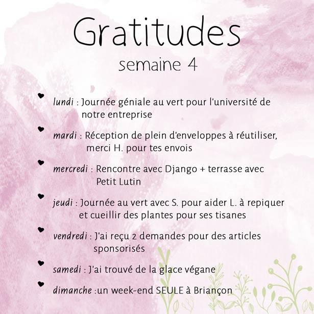 gratitudes de la semaine