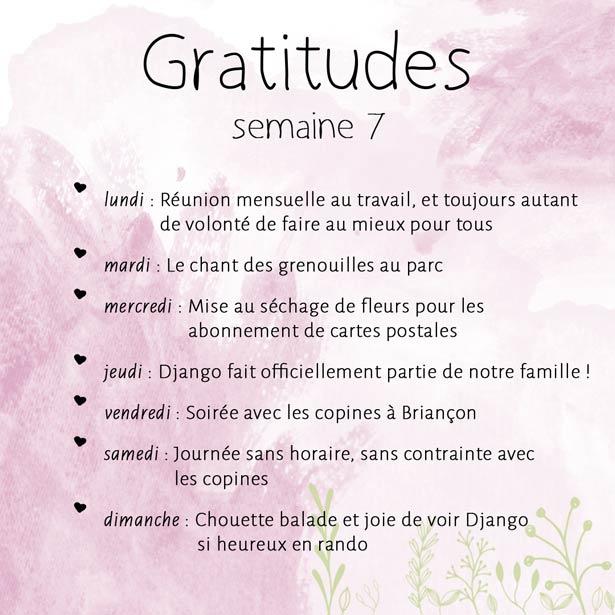 Liste des gratitudes de la semaine