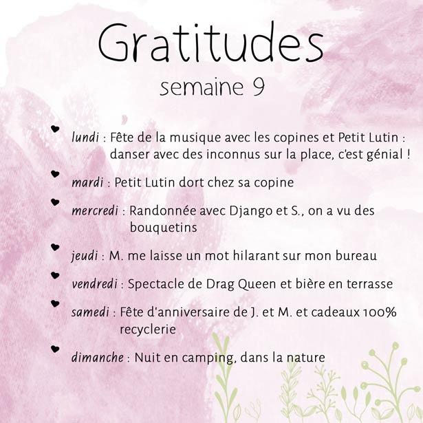 Gratitude, une par jour, pendant toute la semaine