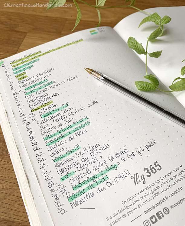 sommaire de bullet journal : utiliser des couleurs selon que les pages sont pro ou perso